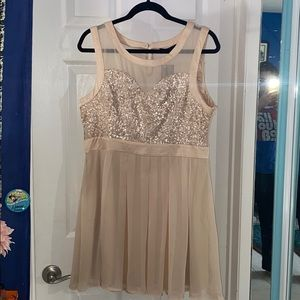 Sequined dress with illusion neck & back